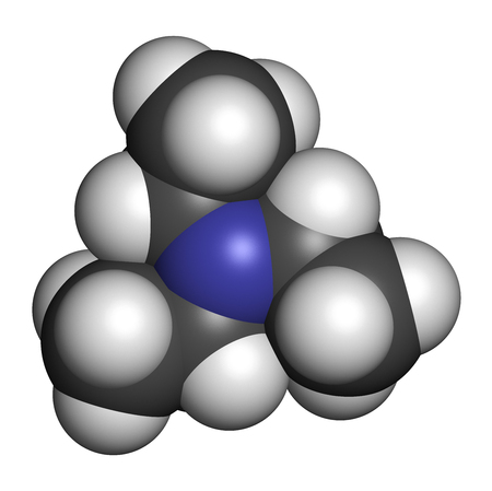 Triethylamine organic base molecule. 3D rendering. Atoms are represented as spheres with conventional color coding: hydrogen (white), carbon (grey), nitrogen (blue). Stock Photo