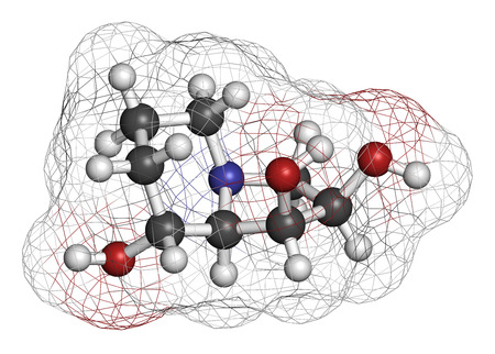 Swainsonine locoweed toxin molecule. Present in Astragalus, Oxytropis and Swainsona plant species. 3D rendering. Atoms are represented as spheres with conventional color coding: hydrogen (white), carbon (grey), oxygen (red), nitrogen (blue). Stock Photo