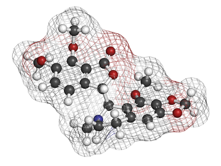 Noscapine antitussive drug molecule.  3D rendering. Atoms are represented as spheres with conventional color coding: hydrogen (white), carbon (grey), nitrogen (blue), oxygen (red). Stock Photo