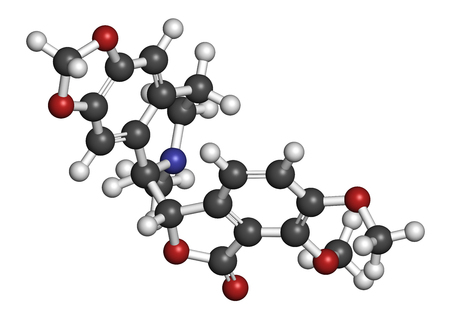 Hydrastine herbal alkaloid molecule, found in Hydrastis canadensis (goldenseal). 3D rendering. Atoms are represented as spheres with conventional color coding: hydrogen (white), carbon (grey), oxygen (red), nitrogen (blue).