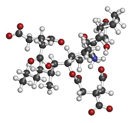 フモニシン B1 マイコトキシン分子。一部の赤かびカビによる真菌毒素は頻繁にトウモロコシおよび他の穀物の現在します。3 D レンダリング。原子は従来色の球体として表されます: 水素 (白)、炭素 (灰色)、(赤) 酸素、窒素 写真素材 - 79390579