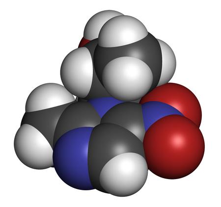Secnidazol-Antiinfektiva-Molekül (Nitroimidazol-Klasse). 3D-Rendering. Atome werden als Kugeln mit konventioneller Farbcodierung dargestellt: Wasserstoff (weiß), Kohlenstoff (grau), Stickstoff (blau), Sauerstoff (rot).