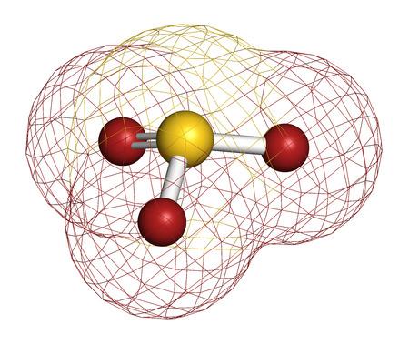 enhancer: Sulfite anion, chemical structure. Sulfite salts are common food additives. 3D rendering. Atoms are represented as spheres with conventional color coding: sulfur (yellow), oxygen (red).