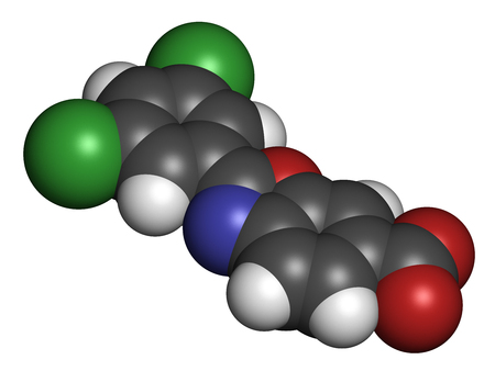 Tafamidis familial amyloid polyneuropathy (FAP) drug molecule. 3D rendering. Atoms are represented as spheres with conventional color coding: hydrogen (white), carbon (grey), nitrogen (blue), oxygen (red), chlorine (green). Stock Photo