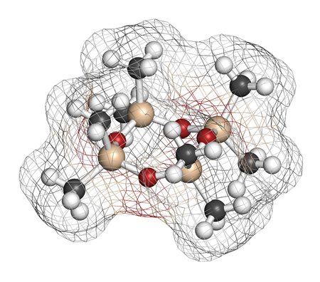 silicio: Octamethylcyclotetrasiloxane (D4 silicone) molecule. 3D rendering. Atoms are represented as spheres with conventional color coding: hydrogen (white), carbon (grey), oxygen (red), silicon (beige).
