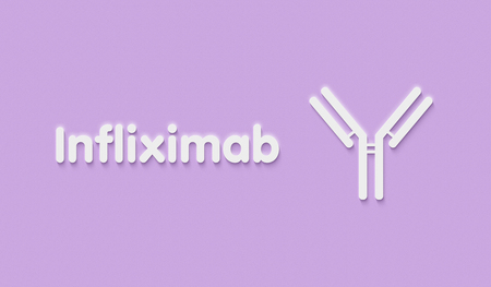 Infliximab monoclonal antibody fragment drug. Targets TNF-alpha, indications for use include crohns disease, ulcerative colitis, psoriasis, psoriatic arthritis, ankylosing spondylitis and rheumatoid arthritis. Generic name and stylized antibody. Stock Photo