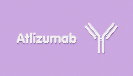 Atlizumab humanized monoclonal antibody drug. Also known as tocilizumab. Targets the interleukin-6 receptor (IL-6R) and is used in the treatment of rheumatoid arthritis and juvenile idiopathic arthritis. Generic name and stylized antibody.