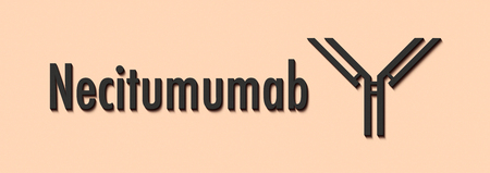 Necitumumab monoclonal antibody drug. Targets epidermal growth factor receptor (EGFR) and is used in the treatment of cancer. Generic name and stylized antibody. Stock Photo