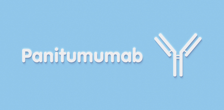 Panitumumab monoclonal antibody drug. Targets epidermal growth factor receptor (EGFR) and is used in cancer treatment. Generic name and stylized antibody. Stock Photo