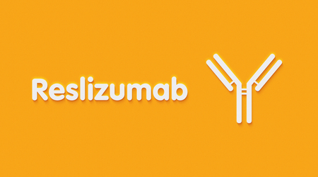 Reslizumab monoclonal antibody drug. Targets interleukin-5 and is used in the treatment of asthma. Generic name and stylized antibody.