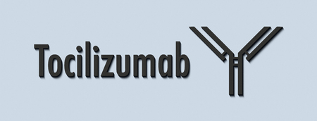 Tocilizumab humanized monoclonal antibody drug. Also known as atlizumab. Targets the interleukin-6 receptor (IL-6R) and is used in the treatment of rheumatoid arthritis and juvenile idiopathic arthritis. Generic name and stylized antibody. Stock Photo