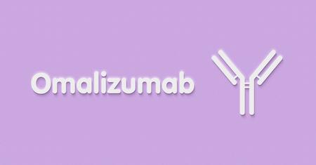 Omalizumab monoclonal antibody drug. Targets immunoglobulin E (IgE). Indications for use include asthma and chronic spontaneous urticaria. Generic name and stylized antibody. Stock Photo