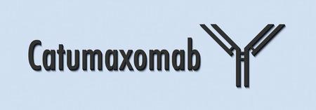 Catumaxomab monoclonal antibody drug. Targets CD3 and EpCAM. Used in treatment of malignant ascites. Generic name and stylized antibody.