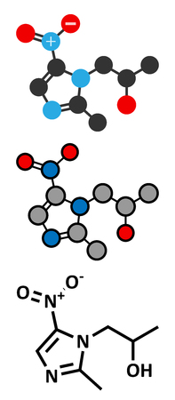 infective: Secnidazole anti-infective drug molecule (nitroimidazole class). Conventional skeletal formula and stylized representations.
