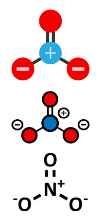 Nitrate anion, chemical structure. Conventional skeletal formula and stylized representations. Illustration