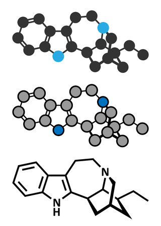 Ibogamine alkaloid molecule, found in Tabernanthe iboga. Conventional skeletal formula and stylized representations.