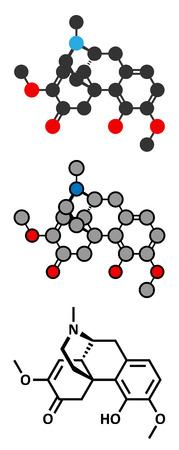 Sinomenine herbal alkaloid molecule. Isolated from Sinomenium acutum. Conventional skeletal formula and stylized representations.