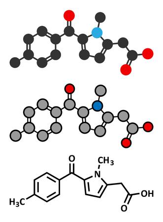 Tolmetin NSAID drug molecule. Conventional skeletal formula and stylized representations.