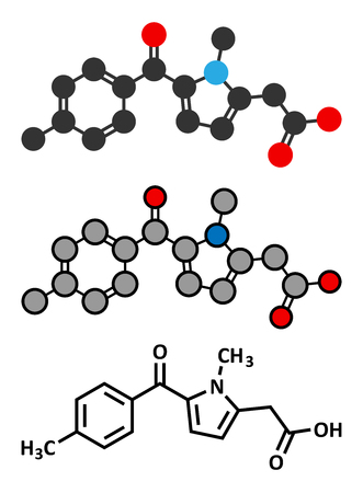 swelling: Tolmetin NSAID drug molecule. Conventional skeletal formula and stylized representations.