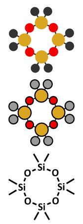 Octamethylcyclotetrasiloxan (D4-Silikon) -Molekül. Konventionelle Skelettformel und stilisierte Darstellungen.