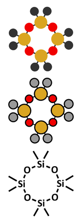 Octamethylcyclotetrasiloxane (D4 silicone) molecule. Conventional skeletal formula and stylized representations.