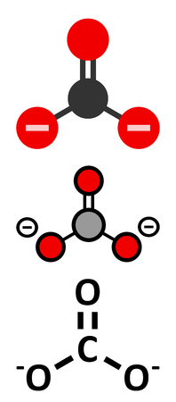 Carbonate anion, chemical structure. Conventional skeletal formula and stylized representations.