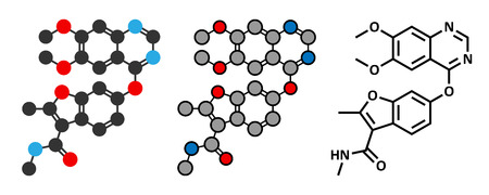 endothelial: Fruquintinib cancer drug molecule. Conventional skeletal formula and stylized representations.