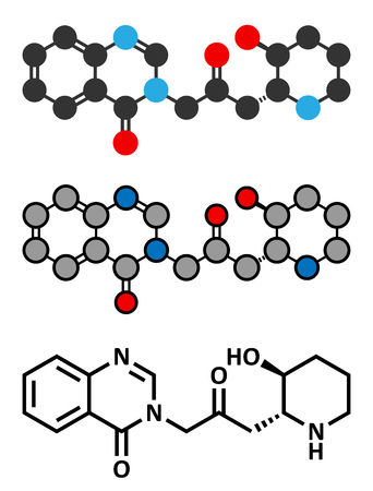 Febrifugine alkaloid molecule, first isolated from Dichroa febrifuga. Conventional skeletal formula and stylized representations.