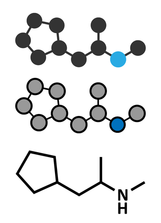 Cyclopentamine nasal decongestant drug molecule (largely discontinued). Conventional skeletal formula and stylized representations. Illustration