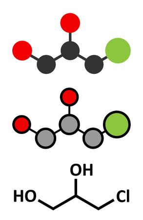 3-MCPD carcinogenic food by-product molecule. Produced when hydrochloric acid is added to food to speed up protein hydrolysis. Conventional skeletal formula and stylized representations.