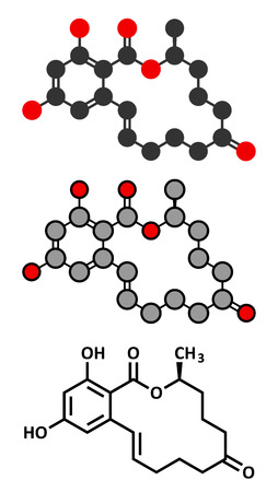 Zearalenone (ZEN) mycotoxin molecule. Produced by some Fusarium and Gibberella species. Conventional skeletal formula and stylized representations. Illustration