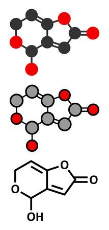 Patulin mycotoxin molecule. Conventional skeletal formula and stylized representations.