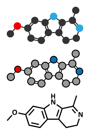 Harmaline indole alkaloid molecule. Found in Syrian rue (Peganum harmala). Conventional skeletal formula and stylized representations. Stock Vector - 81316958