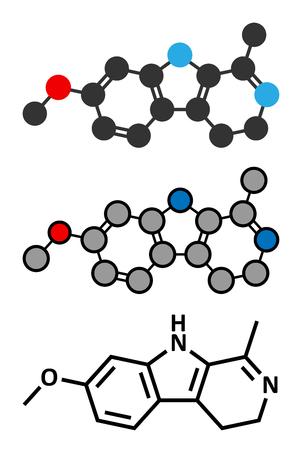 Harmaline indole alkaloid molecule. Found in Syrian rue (Peganum harmala). Conventional skeletal formula and stylized representations.