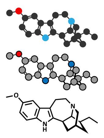 Tabernanthe iboga에서 발견 된 Ibogaine 알칼로이드 분자. 기존의 골격 공식 및 양식화 된 표현.