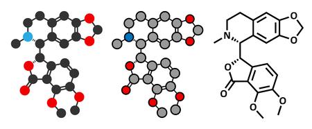 Hydrastine herbal alkaloid molecule, found in Hydrastis canadensis (goldenseal). Conventional skeletal formula and stylized representations.