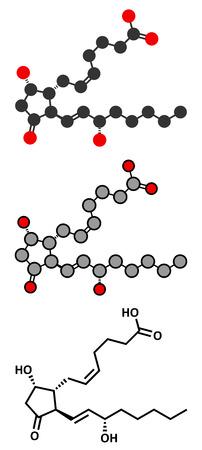 Prostaglandin D2 (PGD2) molecule. Conventional skeletal formula and stylized representations.