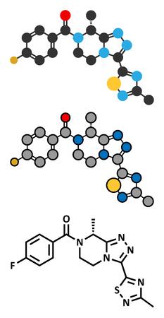 Fezolinetant drug molecule (NK3 receptor inhibitor). Conventional skeletal formula and stylized representations.