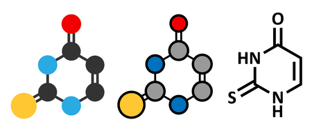 チオウラシル薬物の分子。時代遅れの薬物の分子、バセドウ病の治療で以前に使用します。従来の骨格式と様式化された表現。