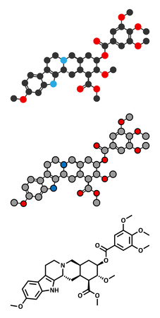 Reserpine alkaloid molecule. Isolated from Rauwolfia serpentina (Indian snakeroot). Conventional skeletal formula and stylized representations. Illustration