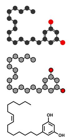 Bilobol ginkgo biloba molecule. Conventional skeletal formula and stylized representations.
