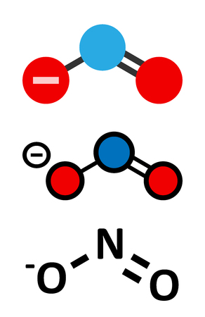 Nitrite anion, chemical structure. Nitrite salts are used in the curing of meat. Conventional skeletal formula and stylized representations.