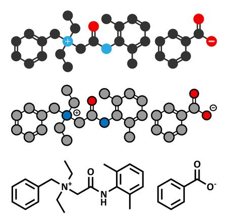 Denatonium benzoate bittering agent. Conventional skeletal formula and stylized representations.