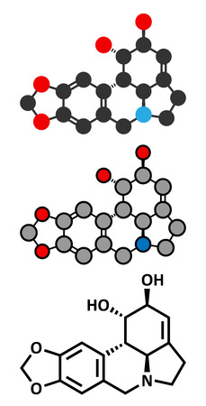 Lycorine alkaloid molecule. Found in Amaryllidaceae plants, including lilies and daffodils. Conventional skeletal formula and stylized representations.