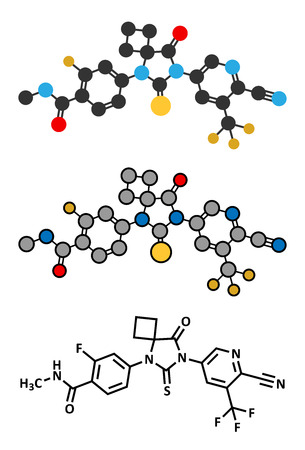 Apalutamide prostate cancer drug molecule. Conventional skeletal formula and stylized representations.