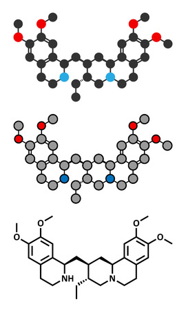 Emetine molecule. Has emetic (induces vomiting) and anti-protozoal properties. Conventional skeletal formula and stylized representations. Illustration