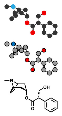 anticholinergic: Hyoscyamine alkaloid molecule. Herbal sources include henbane, mandrake, jimsonweed, deadly nightshade and tomato. Conventional skeletal formula and stylized representations.