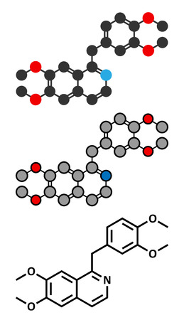 relaxant: Papaverine opium alkaloid molecule. Used as antispasmodic drug. Conventional skeletal formula and stylized representations.