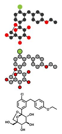 Ertugliflozin diabetes drug molecule. Conventional skeletal formula and stylized representations.
