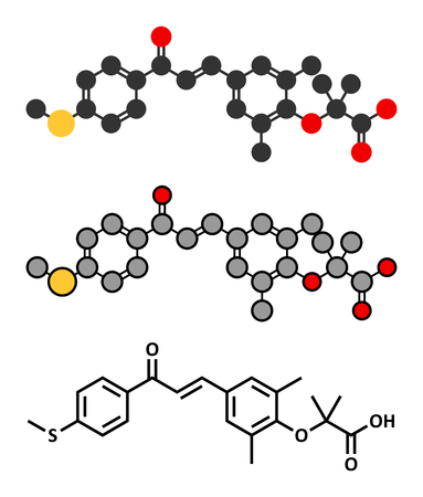 Elafibranor 薬物の分子。従来の骨格式と様式化された表現。  イラスト・ベクター素材